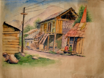 Watercolor on Handmade Paper painting titled Ranikhet
