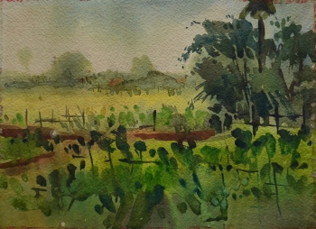 Watercolor on Handmade Paper painting titled Mustard Fields