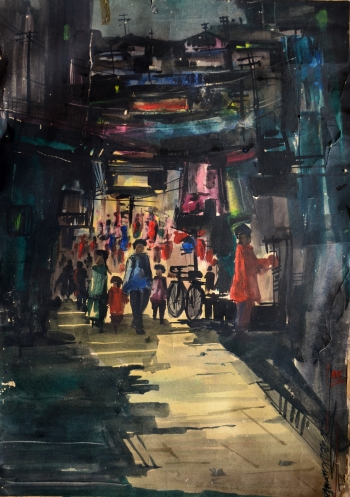 Watercolor on Handmade Paper painting titled Night Market