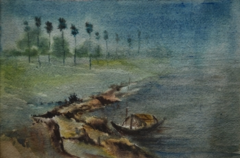 Watercolor on Handmade Paper painting titled A Foggy Morning