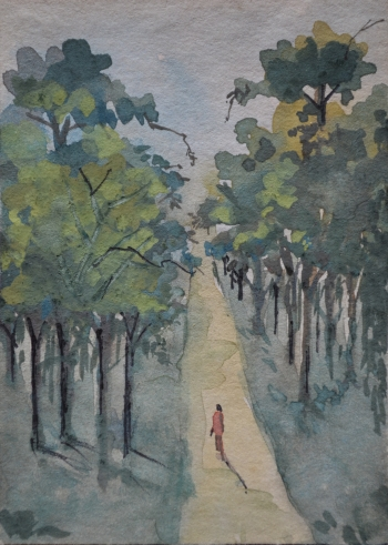 Watercolor on Poster Paper painting titled A Walk Through The Forest