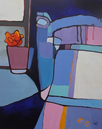 Acrylic and ink on canvas painting titled The chair by the window