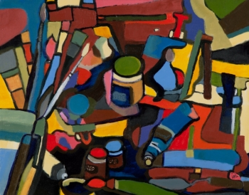 Acrylic on Canvas painting titled Studio Stories