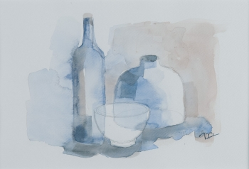 watercolor on paper painting titled Still life, bottles