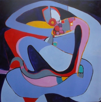 Acrylic on Canvas painting titled Femme & Yoga