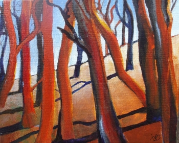 acrylics on canvas painting titled Dancing trees