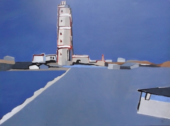 Acrylic and ink on canvas painting titled Cabo Polonio