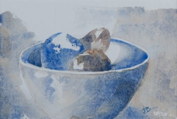 Watercolor on paper painting titled Still life, bowl