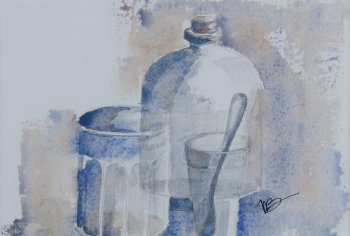 watercolor on paper painting titled Still life with spoon