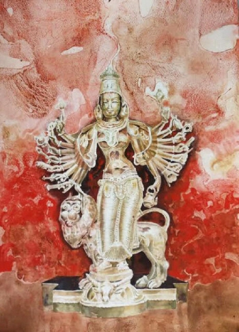 Watercolour on Paper painting titled The Blessings of Devi Durga