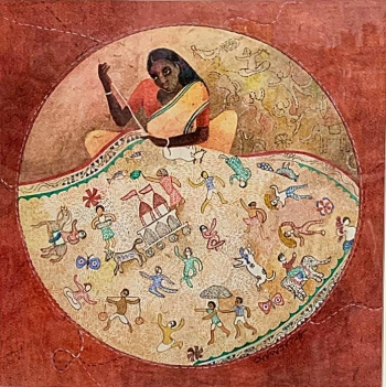 Watercolor on Paper painting titled Woman engrossed in Kantha Stitch
