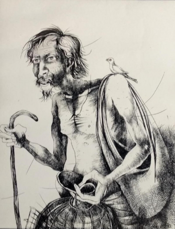 Pen & Ink on Paper painting titled The Bird Seller