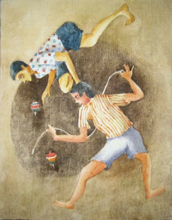 Watercolor on Canvas painting titled A Spinning Competition
