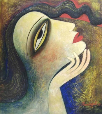 Tempera on canvas board painting titled A Woman in Love III