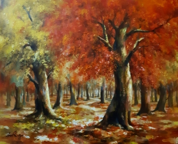 Acrylic on Canvas painting titled The Sun-dappled Forest - I
