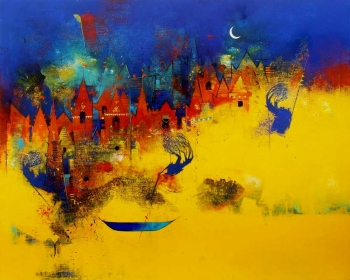 Charcoal, Gold & Acrylic on canvas painting titled Moonlit Temple City by the Riverbank