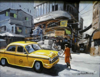 arcylic on canvas painting titled Glorious Kolkata III