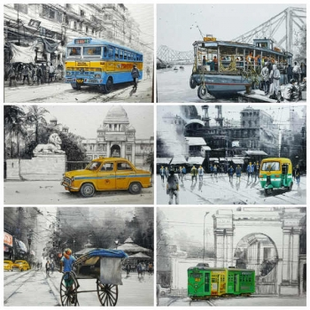 Acrylic on Canvas painting titled Charming Kolkata I - VI