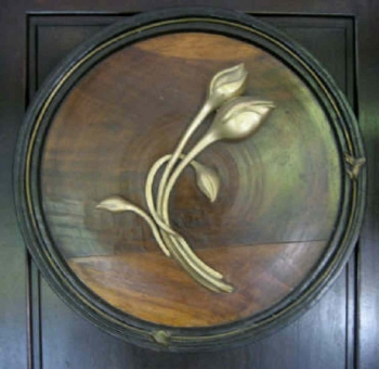 Fibreglass on Teakwood painting titled Lotus Buds