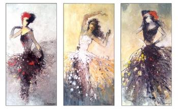 Mixed Media on Canvas painting titled Flamenco Dancers I, II & III