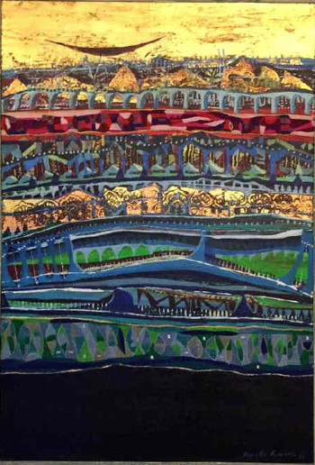 Acrylic & Embroidery on Canvas painting titled My City II