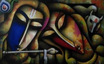 Mixed media on canvas painting titled Holi with Krishna