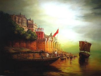 Oil and arcylic on canvas painting titled Sunrise at the Ramnagar Fort, Varanasi