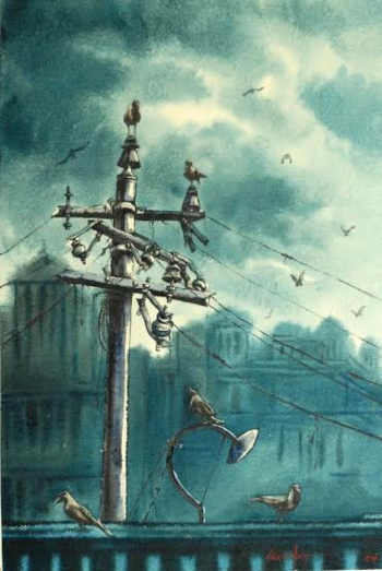 Watercolour on Paper painting titled Cloudy Skies
