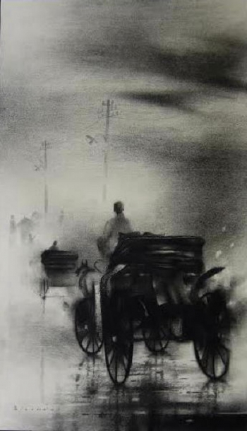 Charcoal & Acrylic painting titled The poetry of monsoon III