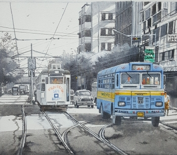 Acrylic on Canvas painting titled Kolkata Nostalgia - II