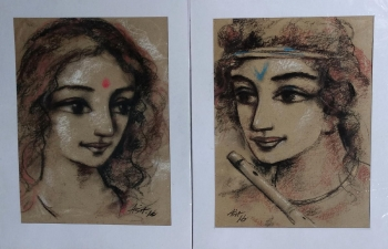 arcylic on canvas painting titled Young Radha & Krishna