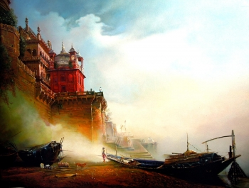 Acrylic on Canvas painting titled The Majestic Ramnagar Fort Palace at Benares