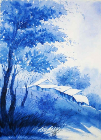 Watercolour on paper painting titled A Hillscape in Blue