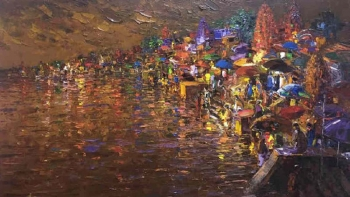 Acrylic on Canvas painting titled Ethereal Benares at Night