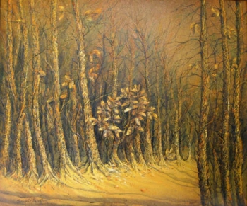 Acrylic on Canvas painting titled The Golden Leaves of Autumn