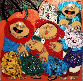 Oil on Acrylic sheet painting titled The Hand Fan Sellers