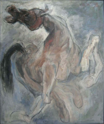Oil on canvas painting titled A Horse in Motion