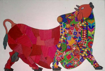 Mixed media on Canvas board painting titled Majestic Bull I