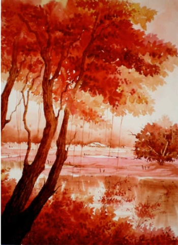Watercolour on paper painting titled A Season of Blossoms