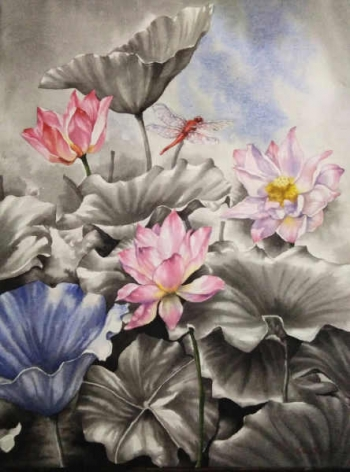Watercolour on paper painting titled Water Lilies in Bloom