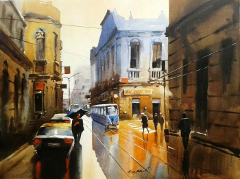 Arcylic on Canvas painting titled A Monsoon Morning in Kolkata