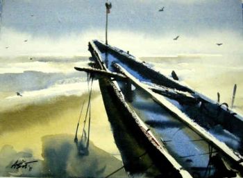 Watercolor on Paper painting titled The Boat