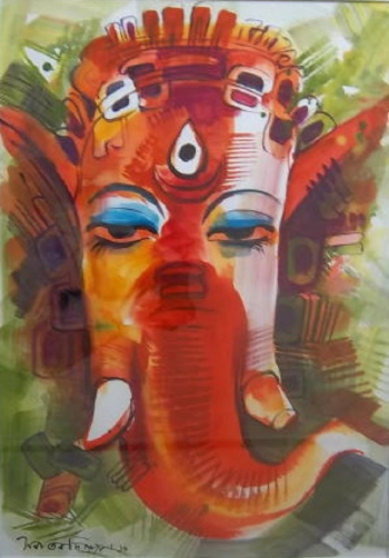 Gouache on Paper painting titled Ganesha I