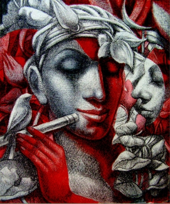 Mixed media on canvas painting titled The Flutist & His Admirers I
