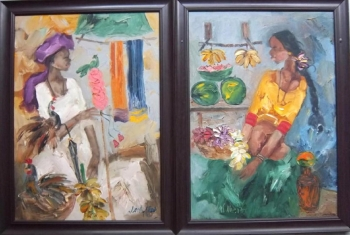 oil on canvas painting titled An Indian Mela I & II