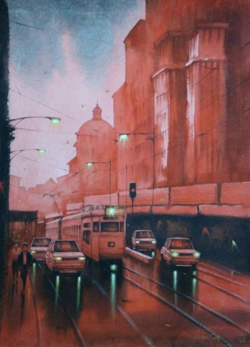 Watercolour on paper painting titled Heritage City at Night