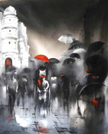 Acrylic on Canvas painting titled Marvellous Monsoons in Kolkata