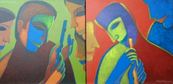 Acrylic on Canvas painting titled The Music of Eternity I & II
