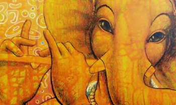 Mixed media on canvas painting titled An Adorable Ganesha