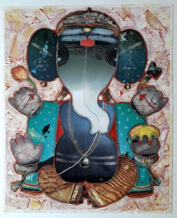 Mixed Media on Canvas painting titled Ganesha